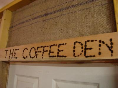 Beautiful wooden handmade Coffee Den sign