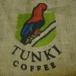 Tunki bird on a coffee sack
