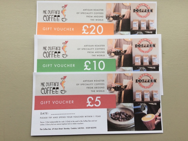 Three gift vouchers to spend in the Coffee Den